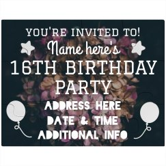 16th Birthday Invitation Puzzle