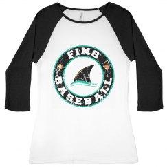 Misses/Junior Fit - 3/4 Raglan - Fins Circle Logo