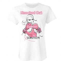 Knocked Out Cancer #2 White Tee w/Pink  graphic