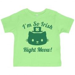 Irish Right Now Cat Pun Kid Tee