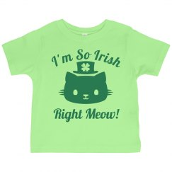 Irish Right Now Cat Pun Kid Tee