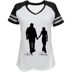 couple silhouette with names