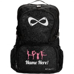 LOVE Cheer Pose Custom Cheerleader Sparkle Bag