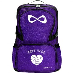 Custom Text Volleyball Nfinity Sparkle Backpack