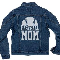 Proud Baseball Mom Denim Jacket