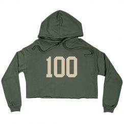 Be 100 Crop Hoodie Beige