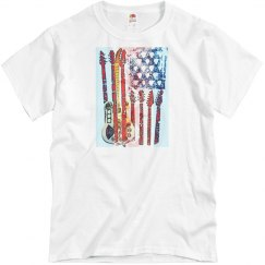 Fourth of July or Patriotic Shirt American Flag Guitar