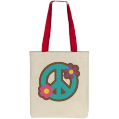 Floral Peace Sign Tote