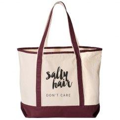Salty Hair Don't Care Beach Bag