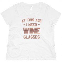 Rose Gold Metallic Wine Glasses Plus Tee