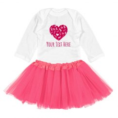 Pink Ribbon Heart Custom Onesie