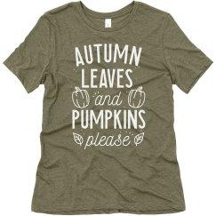 Autumn Leaves & Pumpkins Please Cute Tee