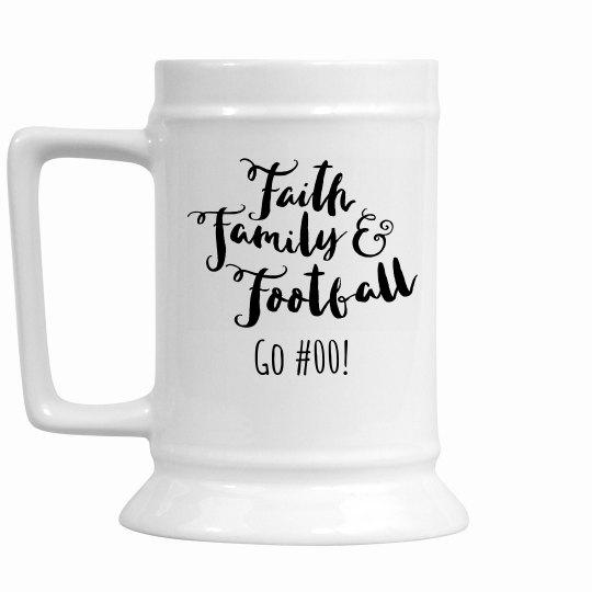 Faith Family Football Custom Stein