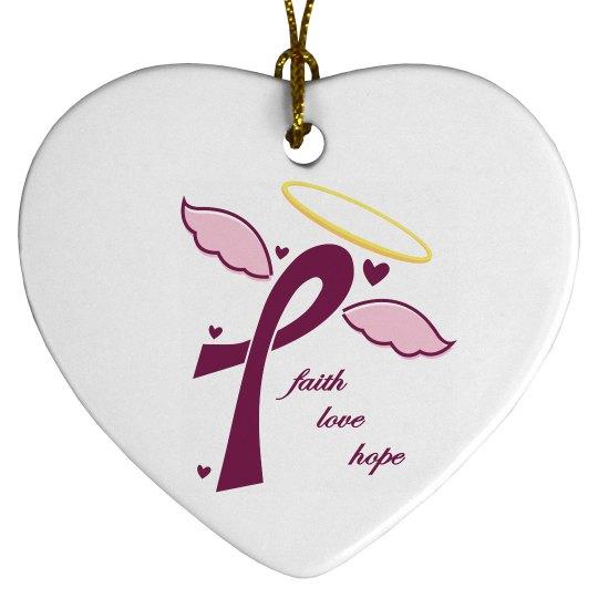 Faith Love Hope Ornament - Heart