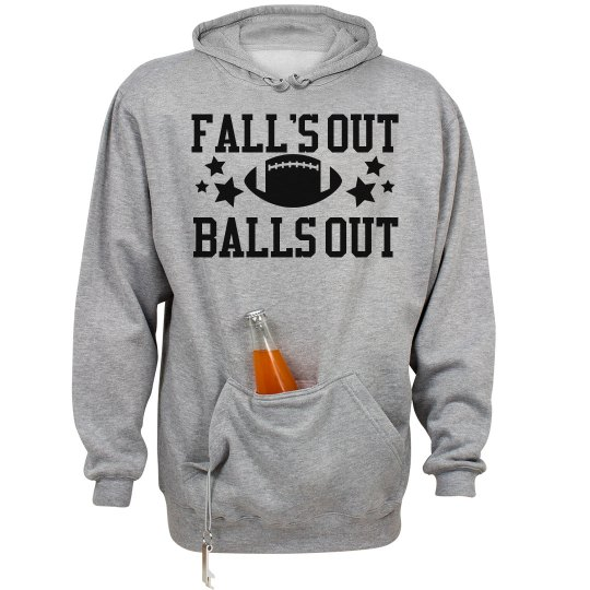 Fall's Out Balls Out Football Season Hoodie With Holder