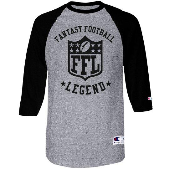 Fantasy Football Legend Black and Gray Raglan Shirt