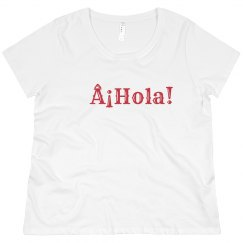 ¡Hola! Tee Red Font