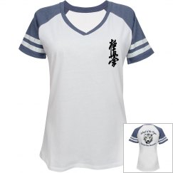 Ladies Relaxed Fit V-Neck Sports Tee with Kani and Logo
