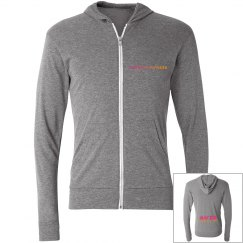 Gray Zip up hoodie with KF Logo on back