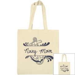 Navy Mom Canvas Tote Bag