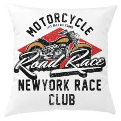 Motorcycle Road Race New York Race Club Pillow Cover