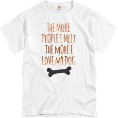 More I Love My Dog Bronze Metallic Text Unisex T-Shirt