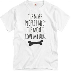 More I Love My Dog Gun Metal Text Ladies T-Shirt