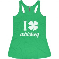 I Love Whiskey Funny Shamrock St. Patrick's Day