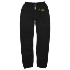 Custom Gold Text on Black Sweats