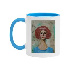Girl with tiara (blue mug)