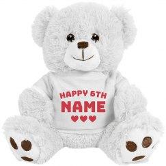 Happy 6th Birthday Customizable Bear