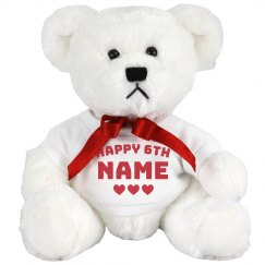 Happy 6th Birthday Customizable Bear