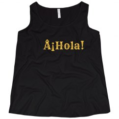 ¡Hola! Black Tank Yellow Text