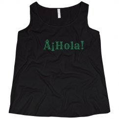 ¡Hola! Black Tank Green Text