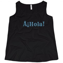 ¡Hola! Black Tank Light Blue Text