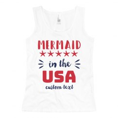 Mermaid in the USA Custom 4th of July Girl's Tank