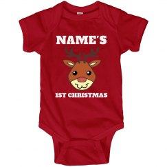 Cute Reindeer Baby's 1st Christmas