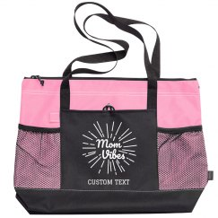Mom Vibes Custom Zippered Tote Bag