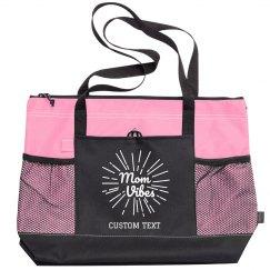 Mom Vibes Custom Zippered Tote Bag