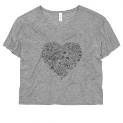 Grey Flower-Heart Tee