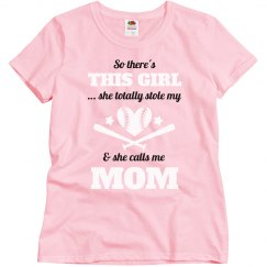 Plus Size Softball Mom Heart Tee