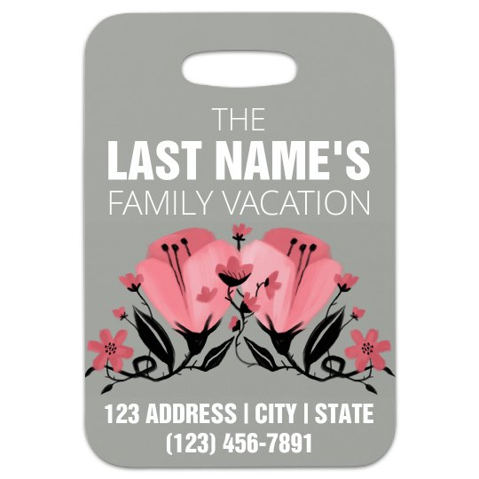 Floral Family Vacation Luggage Tag