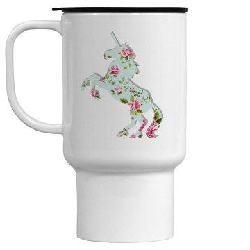 Floral Unicorn Travel Mug