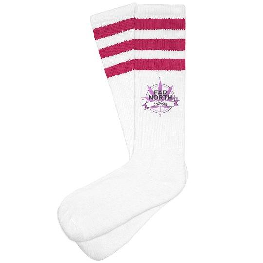 FNE Women Striped Knee-High Socks- Purple