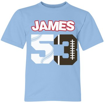 Football and baseball sports sports sports for Youth football t shirt designs