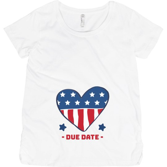 Fourth of July Maternity Custom Due Date Tee