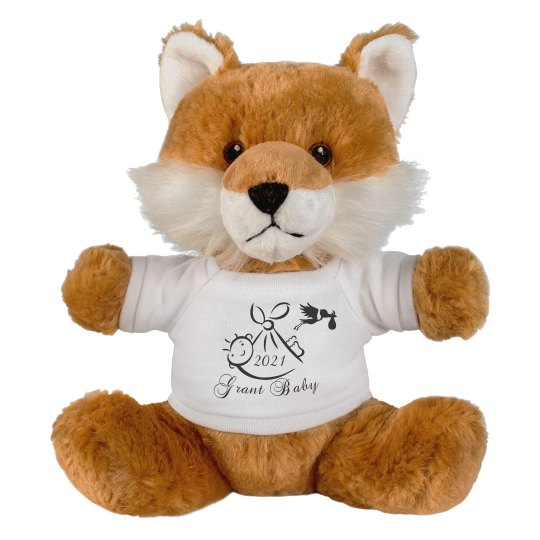 Fox Stuffed Animal-Customize-Birth Announcement-Gift
