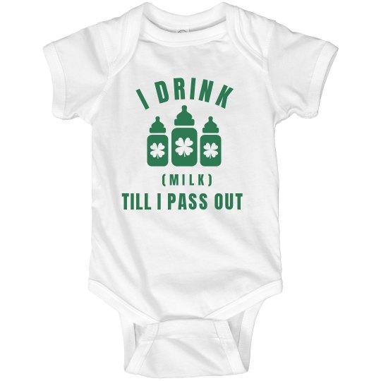 Funny Baby Drinks Green Milk