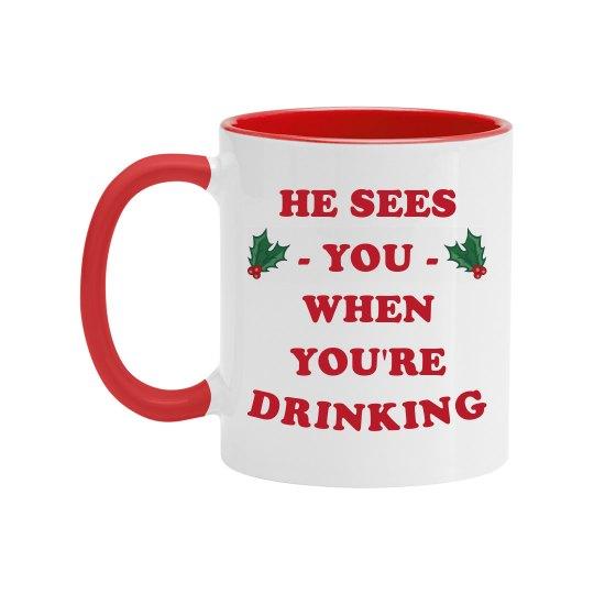 Funny Santa Sees You Mug