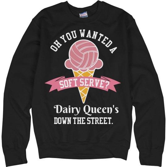 Funny Soft Serve Volleyball Mom Sweatshirt